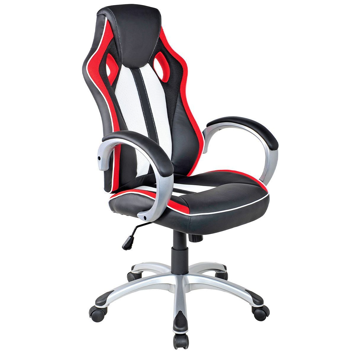 Black White Red Executive High Back Bucket Seat Racing Style