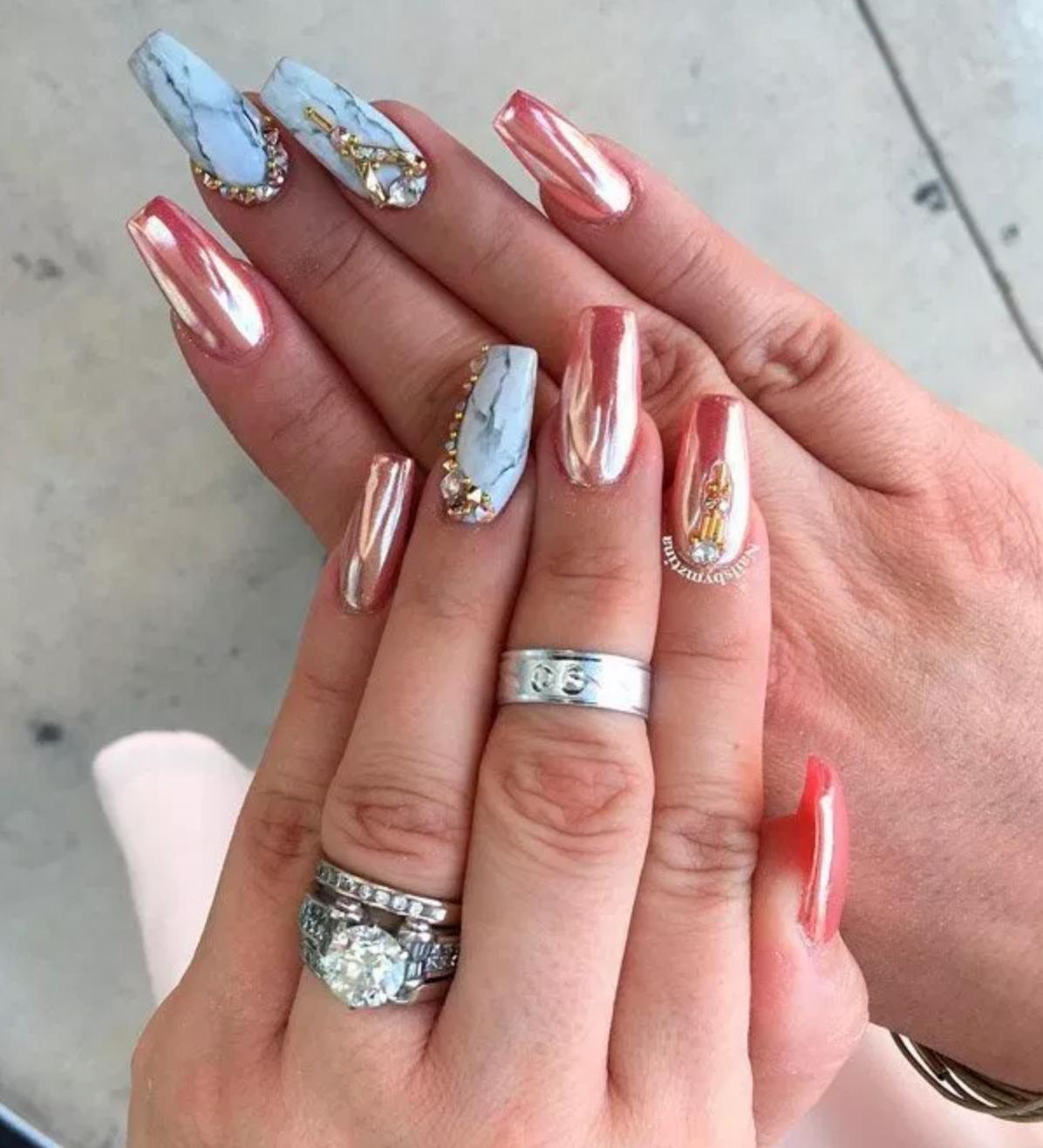 20 Top Nails Design 2019 New Style Nail Charms Nail Designs Mirror Nails