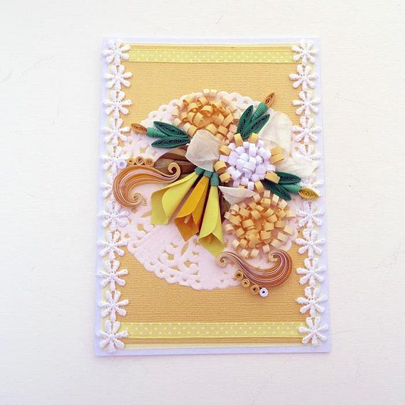 Paper Quilling Birthday Greeting Card Paper Quilled Yellow Lilies