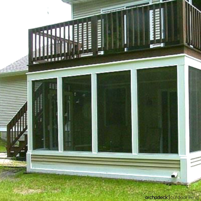 A Space Savvy Elevated Deck Design Includes A Screen Room Below Creating A Perfect Outdoor Space Rain Or Shine Building A Deck Deck Design Screened Porch