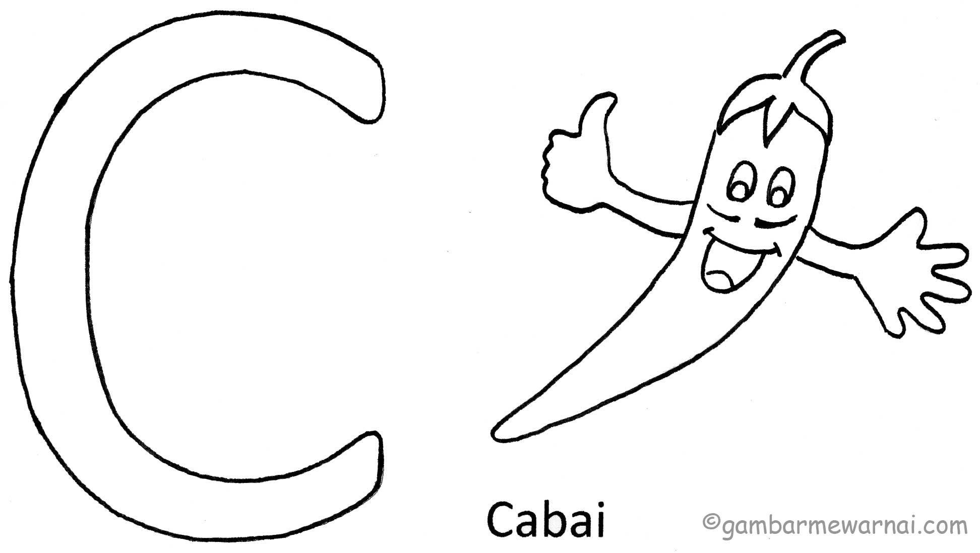 Belajar Mewarnai Huruf C Dengan Gambar Huruf Belajar Warna