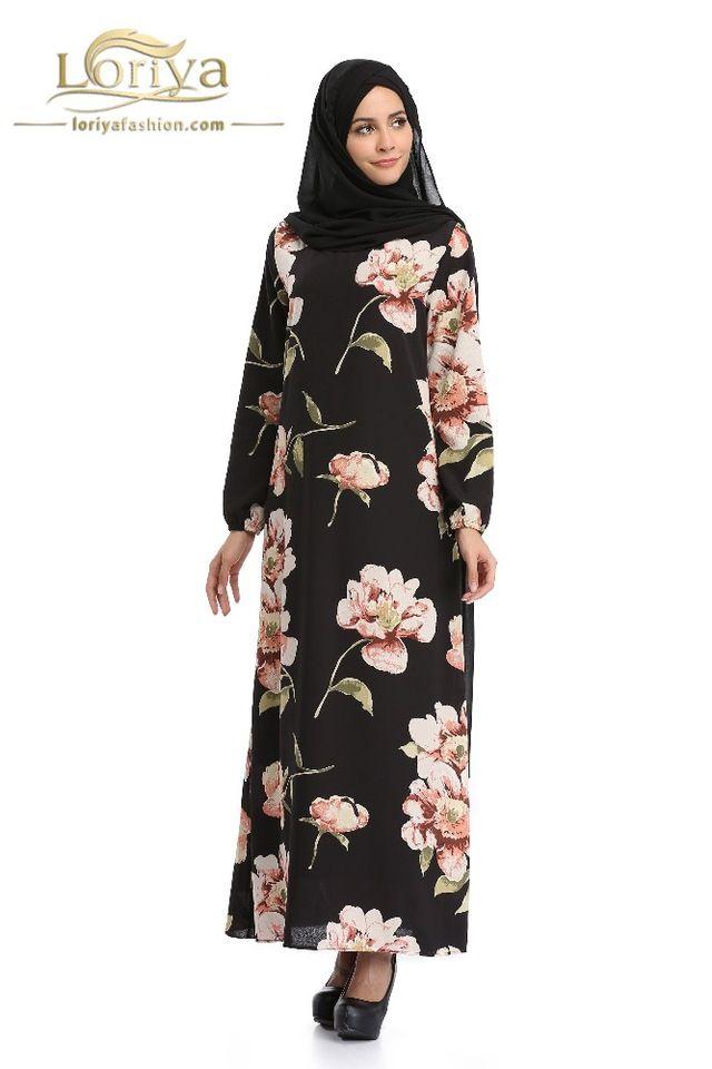 a4261a6496 2017 new mislim abaya with flower printed black kaftan chiffon ...