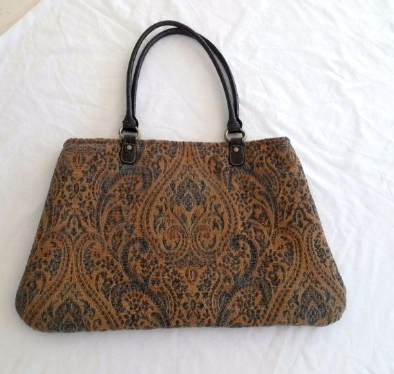 Gold And Teal Tapestry Fabric Carpet Bag Handbag By Sassnippets 52 00