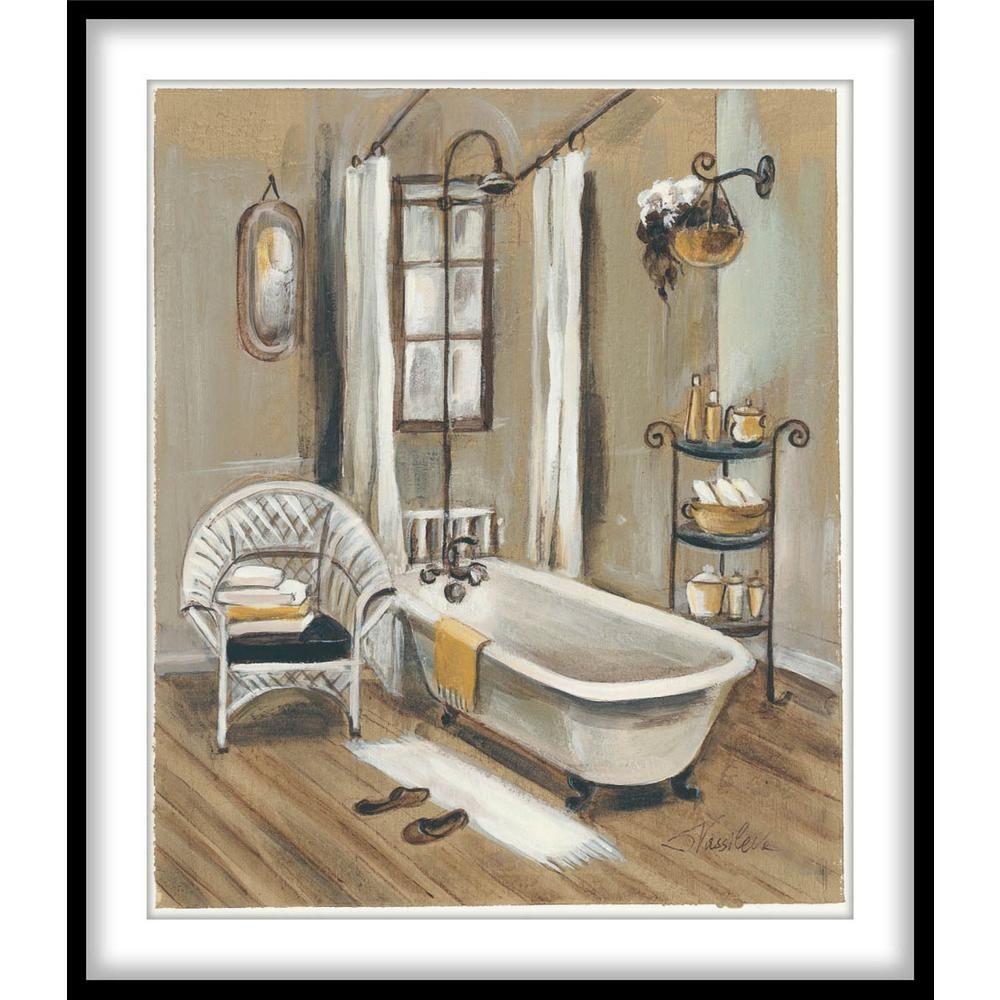 Ptm Images 9 75 In X 11 75 In French Bath Vi Framed Wall Art 1 76013 The Home Depot Stretched Canvas Wall Art Wall Canvas Bathroom Art
