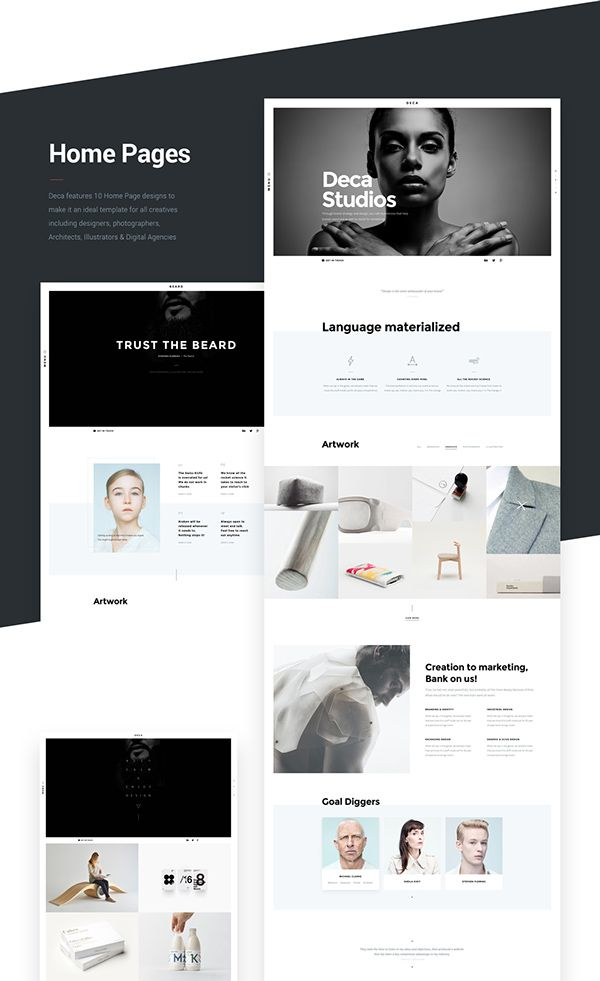 DECA - Creative Multi Concept Portfolio template d e s i g n - online portfolio template