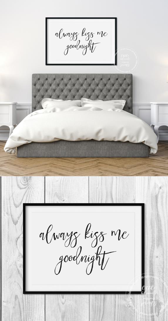 Always Kiss me Goodnight | Printable | Digital Download | Bedroom ...