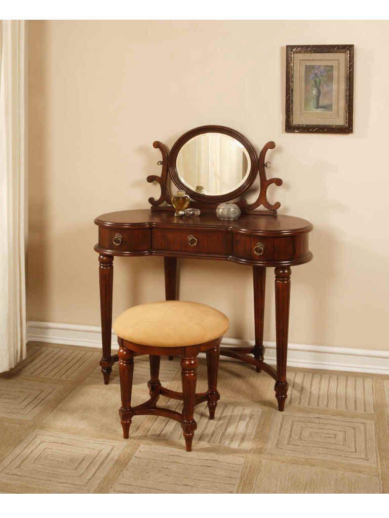 Home Bedroom Vanities Antique Mahogany Bedroom Vanity Set With