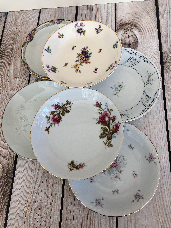 6 Mismatched Vintage Fine China Bowls Mismatched Wedding China