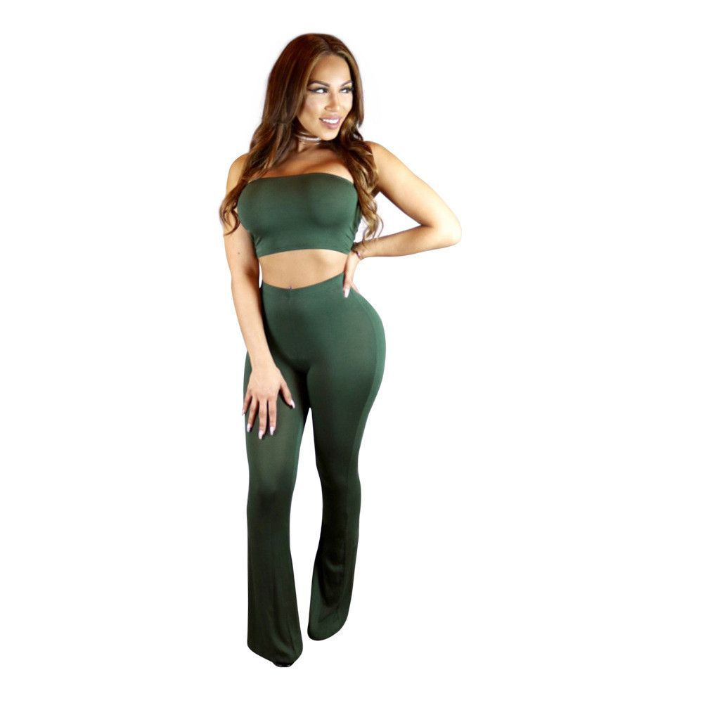 7bf88815630 Two Pieces Set Jumpsuit High Waist Crop Top