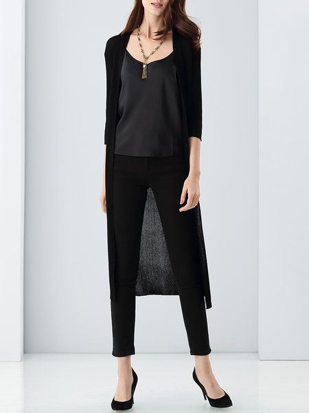 Shop Cardigans - Black Plain 3/4 Sleeve Knitted Slit Cardigan online. Discover unique designers fashion at StyleWe.com.