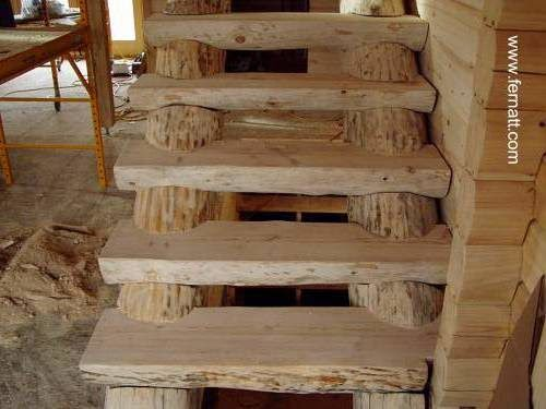 Escalera r stica de troncos caba as pinterest for Gradas de madera para exteriores