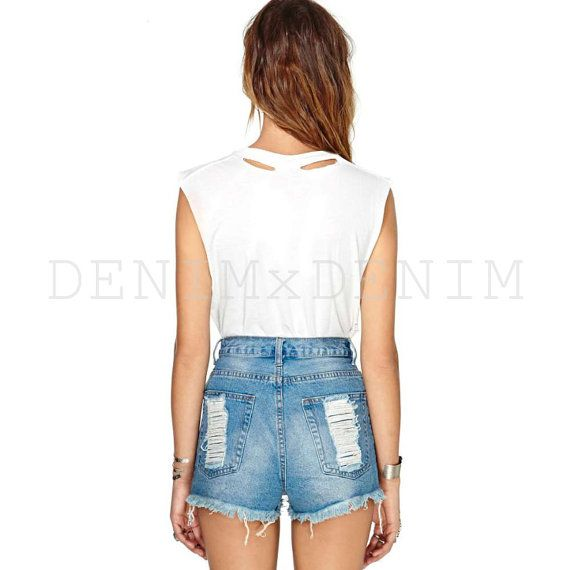 Summer Sky Distressed Denim Cutoff Shorts Vintage #vintage #cutoffs #shorts #denim #denimshorts