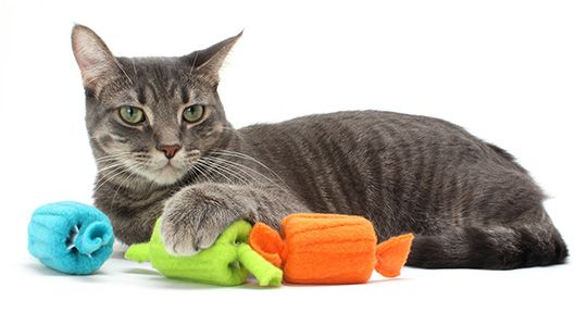 Taffy Roll Cat Toys Made with Recycled Thread Spools, from Moderncat Studio