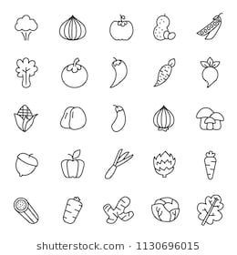 of fruits and vegetable plant icon with simple outline and modern concept, editable stroke, use for food infograph and culinary website, containt such as vegertarian, green, healthy vector eps 10