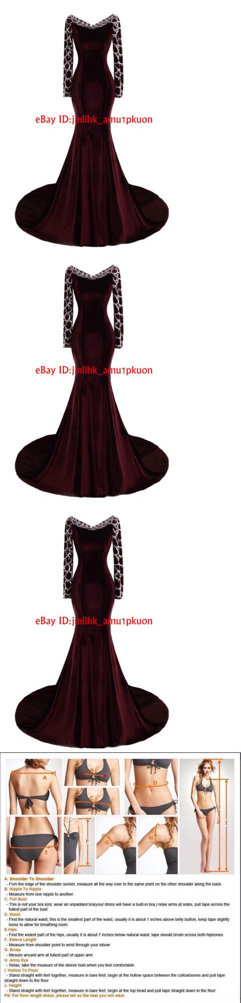 Celebrity dresses burgundy crystal prom gown long sleeve mermaid