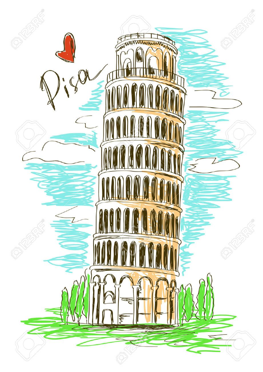 Colorful sketch illustration of Pisa tower, Italy ...