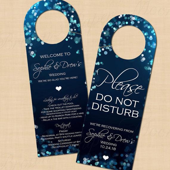 Midnight Blue Night Sky Door Hangers Text Editable