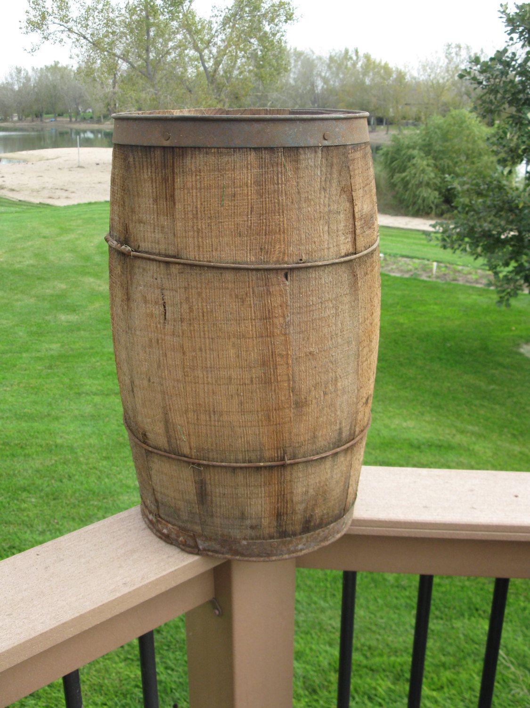 Wood Nail keg - vintage garden planter- whiskey barrel - wood staves ...