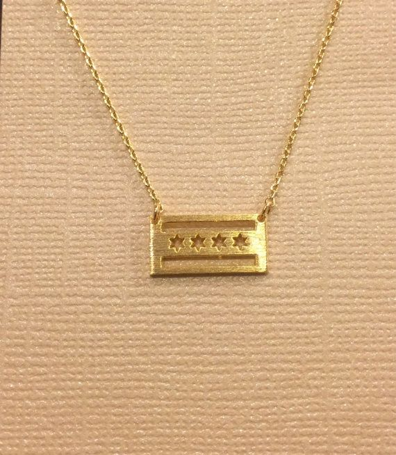 Buy Chicago Flag Necklace Yellow Gold Plated by loveemilyd