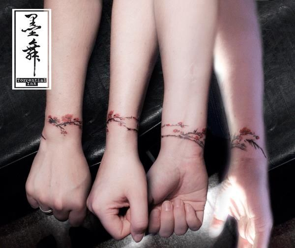 b452457848d8d cherry blossom bracelet. in chinese ink wash painting style ...
