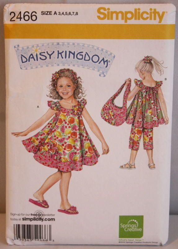 Simplicity Pattern 2466 Girls DAISY KINGDOM Swing Dress Top Capri ...