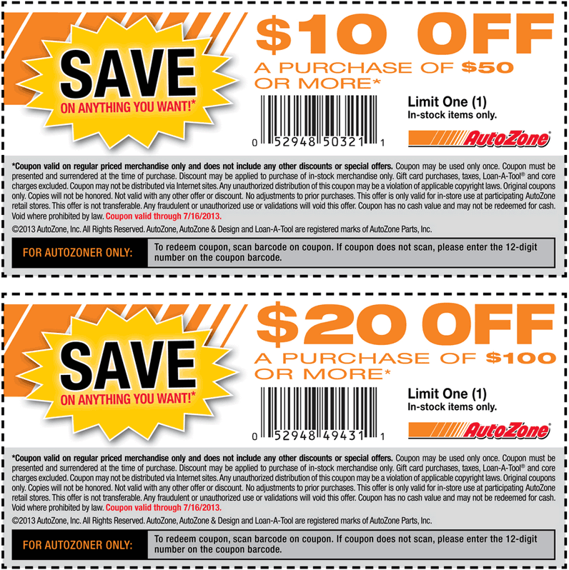 Pinned July 12th 10 Off 50 And More At Autozone Coupon Via The