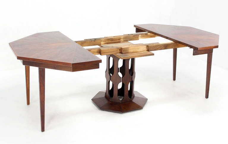 Oiled Walnut Octagon Dining Table With Two Leaves In The Style Of