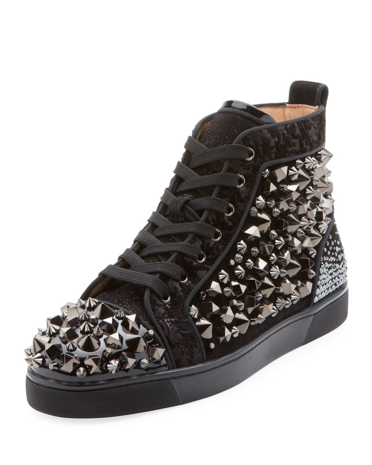 95fb9df2feb CHRISTIAN LOUBOUTIN MEN'S LOUIS MIX MID-TOP SPIKED LEATHER SNEAKERS ...