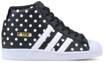 save off a1e63 9d196 Adidas Womens Originals Super Star Up in Core Black with White Polka Dots