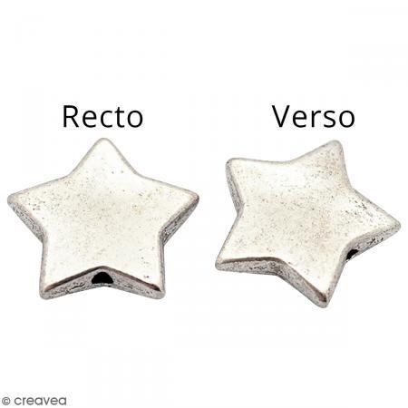 Abalorio plano Estrella de metal - 15 mm - Fotografía n°2
