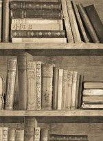 Papier Peint Trompe L Oeil Bibliotheque Sepia Murs Pinterest