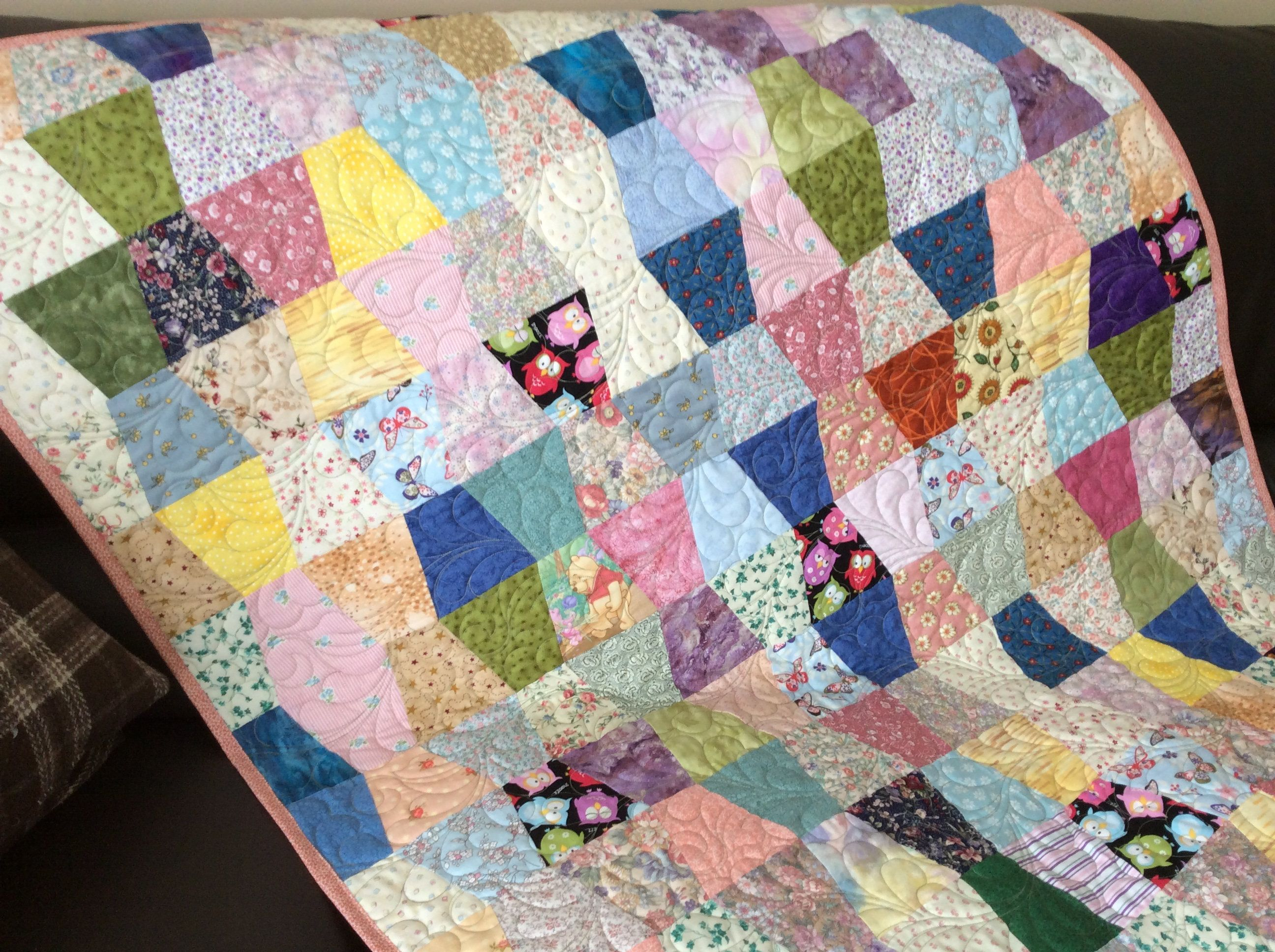 Crib size quilts for sale - Tumbler Block Lap Quilt In Scrappy Multi Colors Quilted With Feathers Crib Size Quilt Or Can Be Used As A Table Cloth Or Picnic Blanket