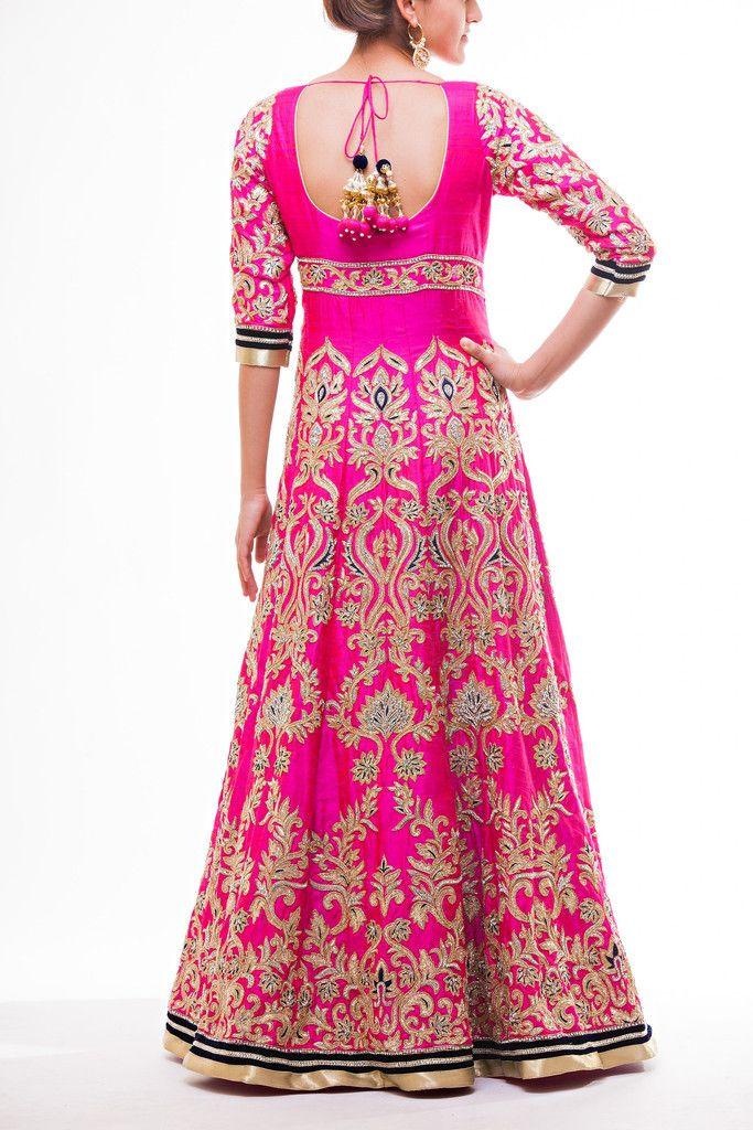 Hot Pink Floor Length Bridal Anarkali | GLAMOUR | Pinterest