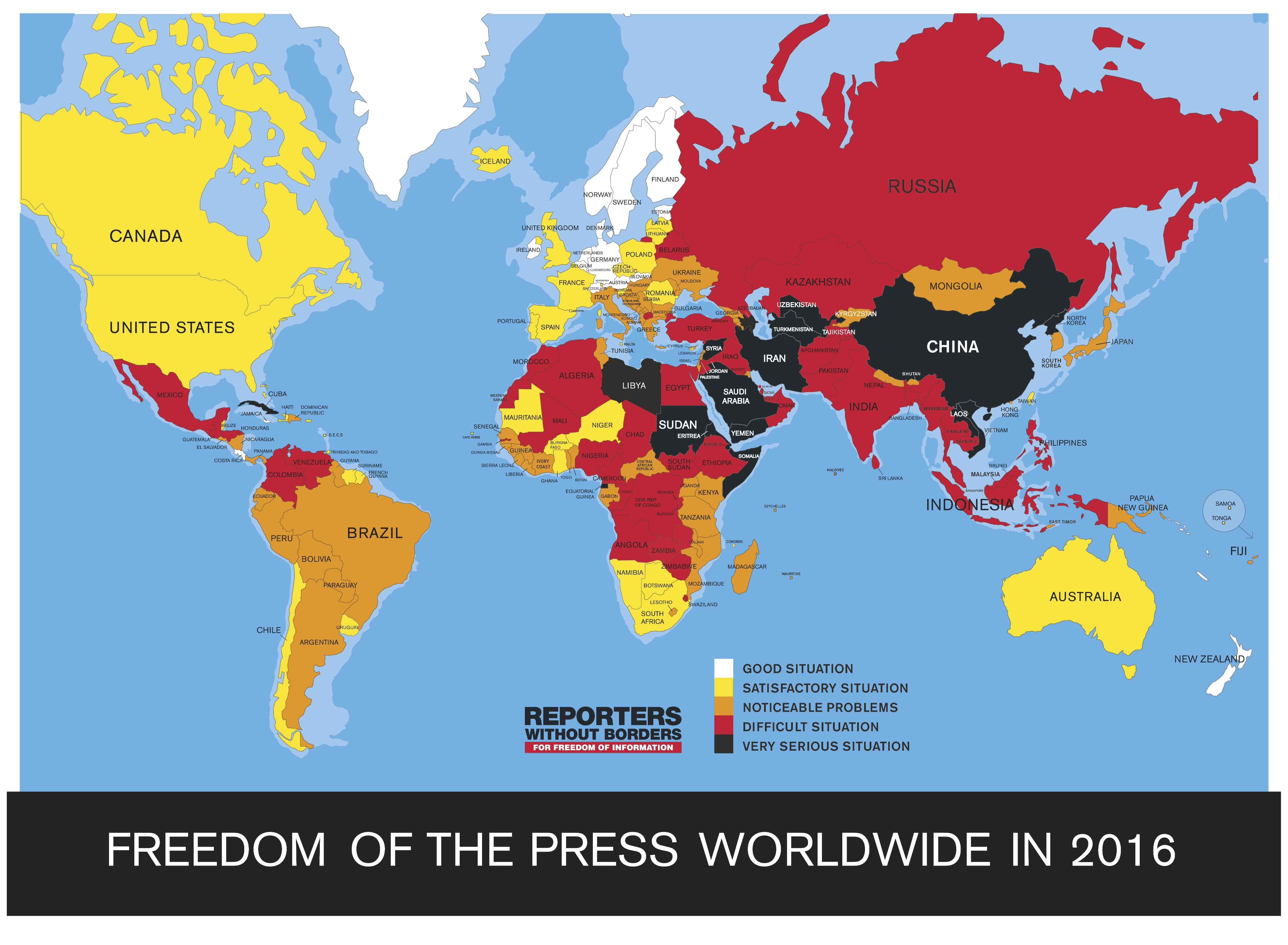 2016 world press freedom index mapped map mania pinterest freedom of press map 2017 by reporters without borders gumiabroncs Gallery
