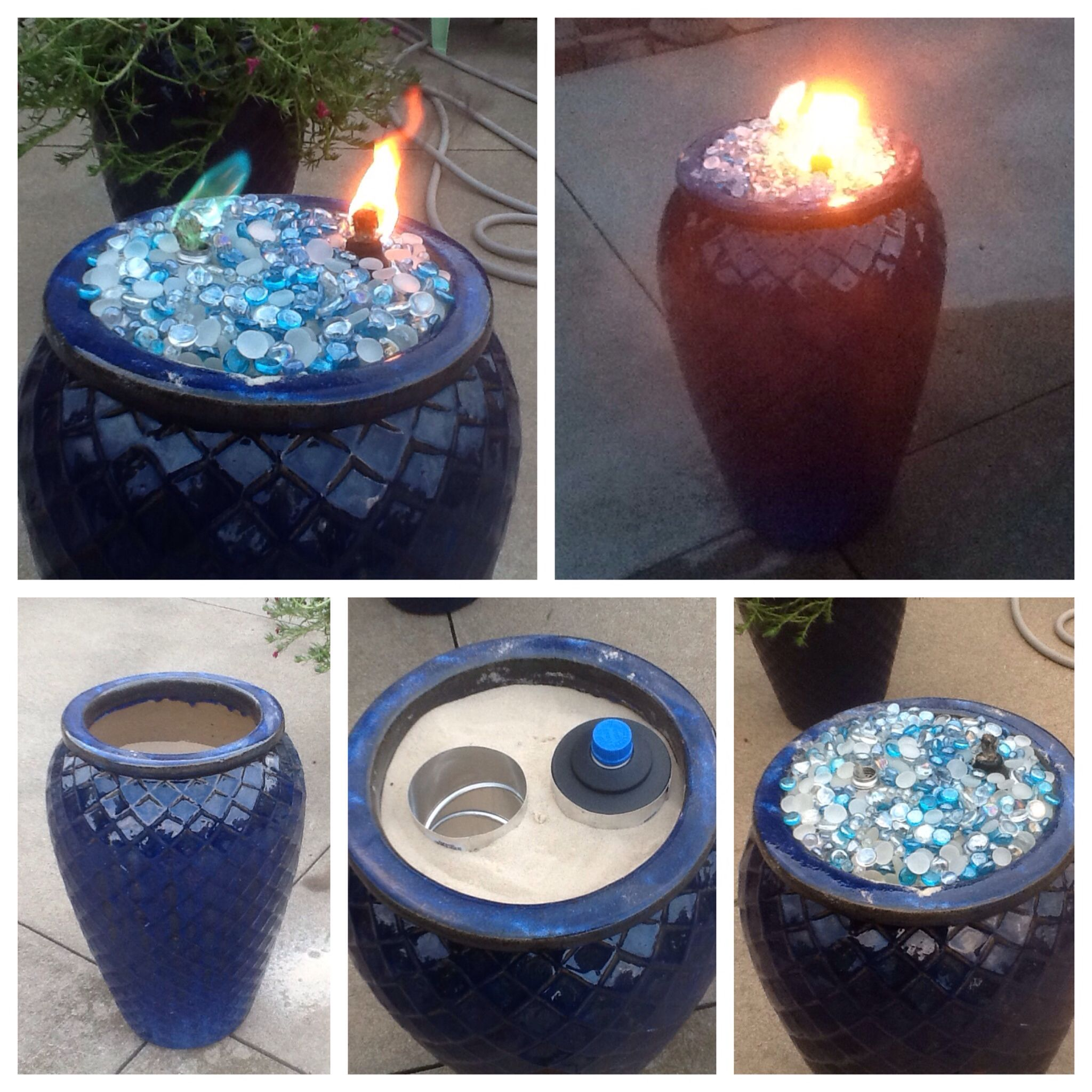 Made this fire pot using a ceramic flower pot, sand to fill the pot, two  pieces of metal ductwork, two tiki torch canisters and topped it off with  glass ...