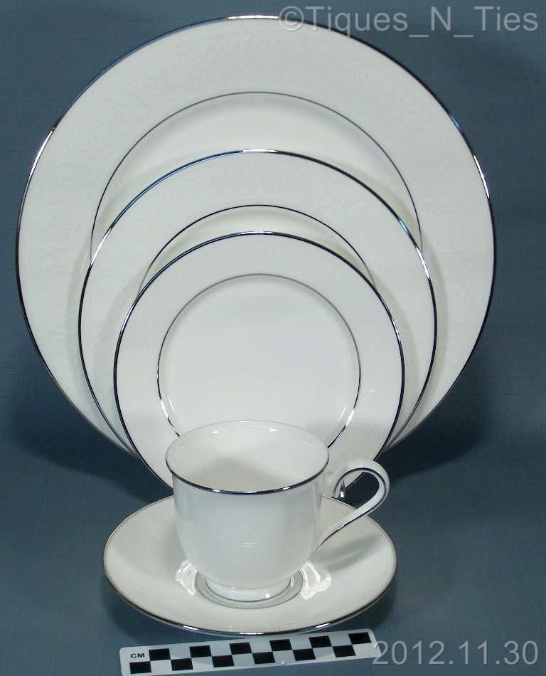 Lenox China 5 Piece Place Setting Hannah Platinum/Silver Trim (5 ...