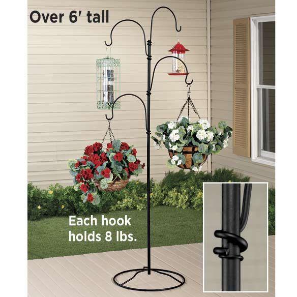 Indoor Patio Growing Plant Stand 4 Arm Shepherds Hook Planter Flower Pot  Hanger