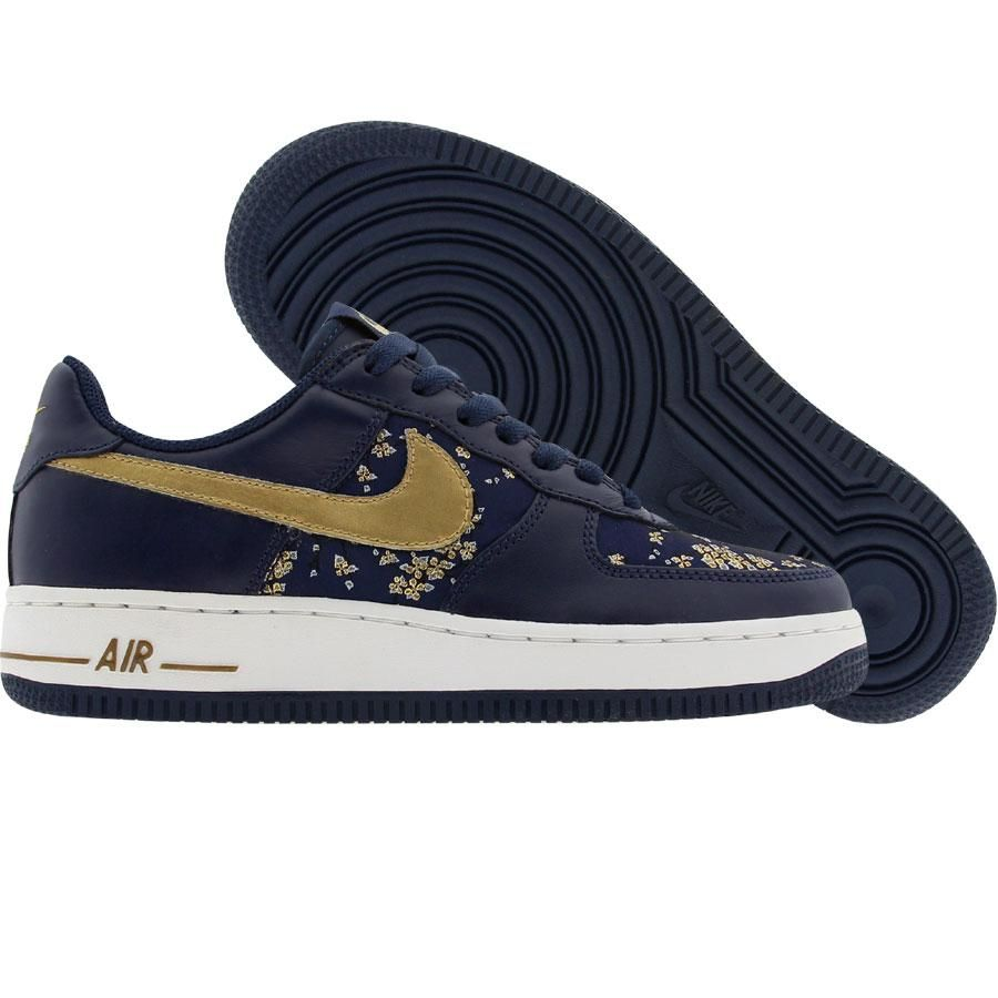 sports shoes e8024 aef95 Nike Womens Nike Air Force 1 Low (navy   gold) 307109-471 -  109.99. Find  this ...