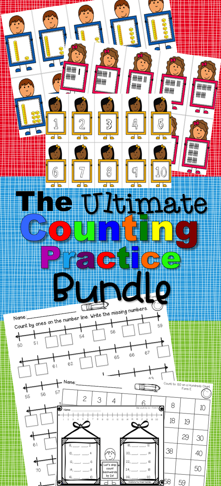 Counting Practice Sheets and Number Flashcards - Bundle | Pinterest ...