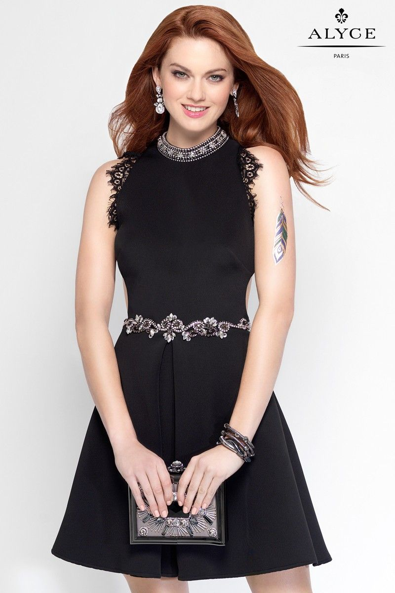 Jersey skater dress with beading on the lower waist and neckline ...