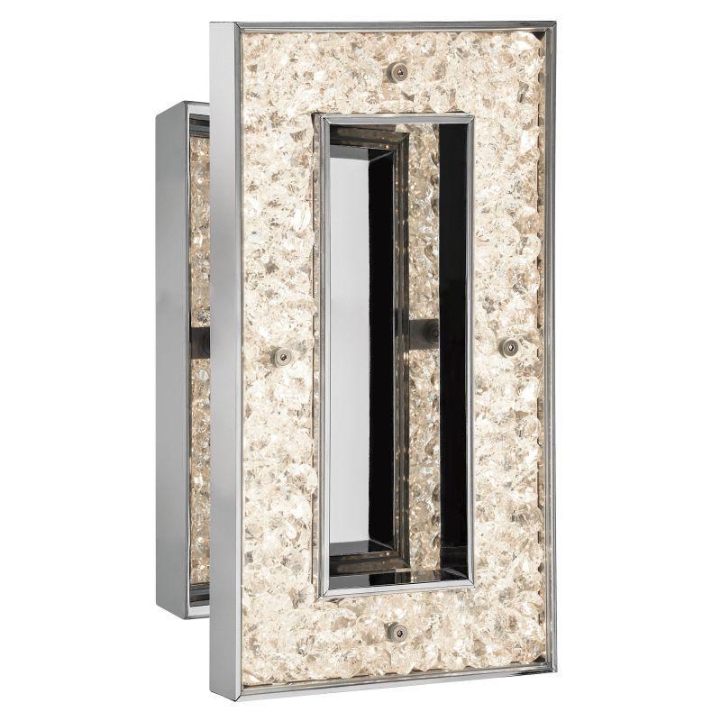 Elan Crushed Ice Rectangle Sconce - Warm White Crushed Ice Rectangle Sconce - Wa Chrome Indoor Lighting Wall Sconces