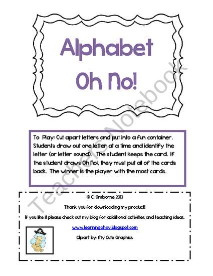 Oh No  Letter Recognition Game From Learning Ahoy On