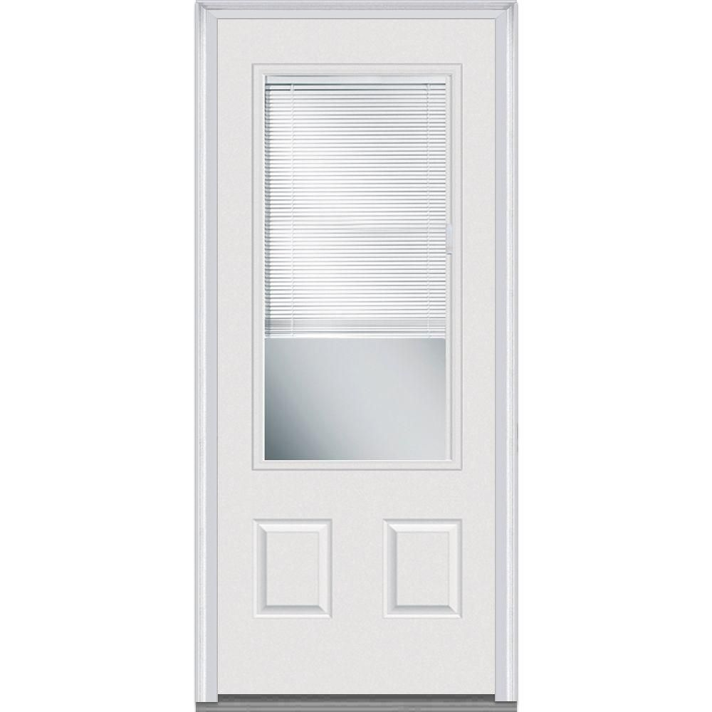 Milliken Millwork 36 In X 80 In Internal Mini Blinds Clear Glass 3 4 Lite 2 Panel Primed White Steel Prehung Front Door With Muntins Exterior Doors Prehung Doors Mini Blinds