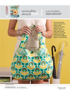 Reversible Slouch Tote Bag - Sew Daily