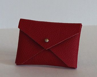 Bright red leather handmade business card holder envelope style leather bright red leather handmade business card holder envelope style case reheart Image collections