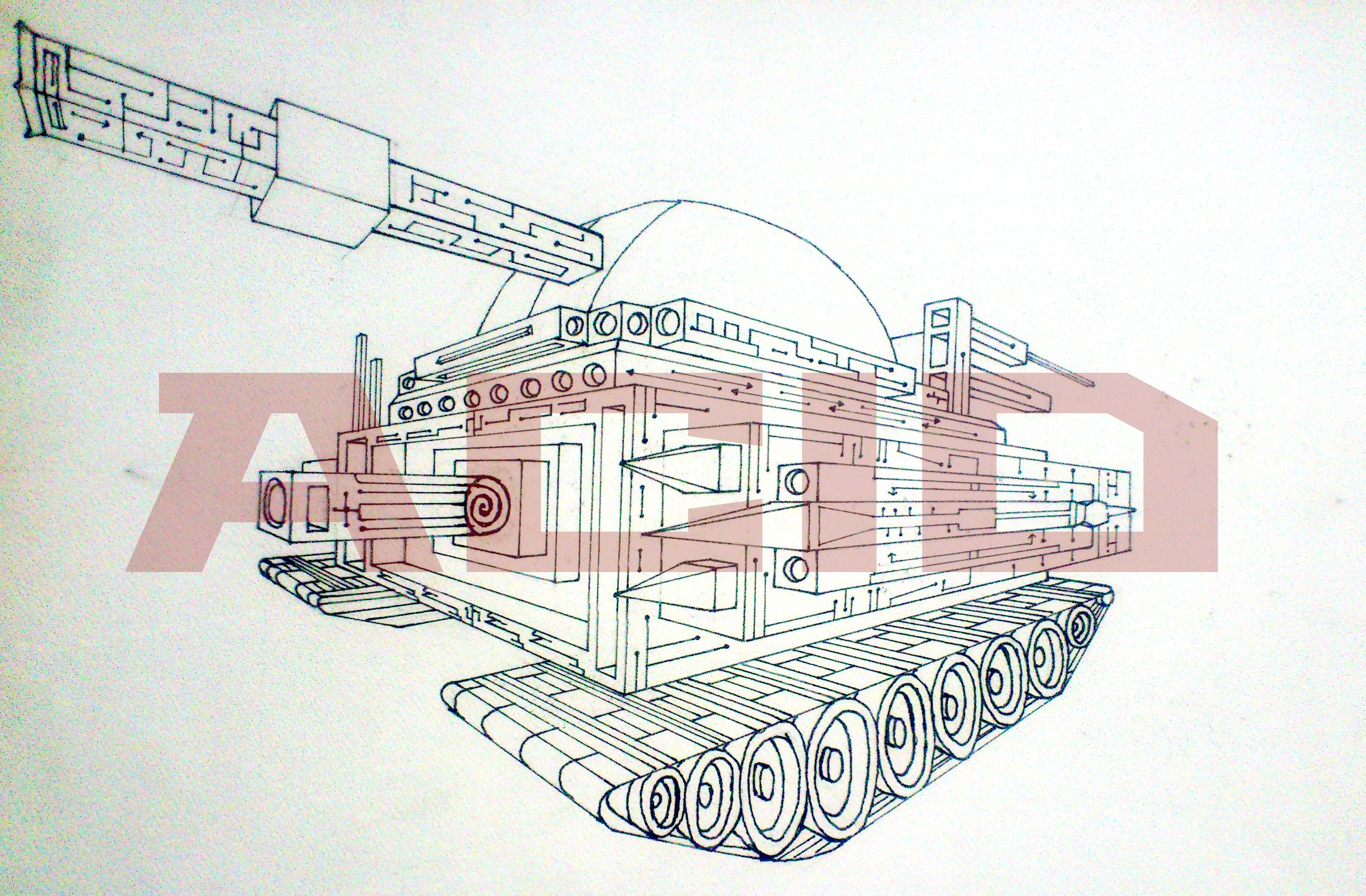 War tank death adder in two point perspective line drawing textured paper 0 3mm pointer