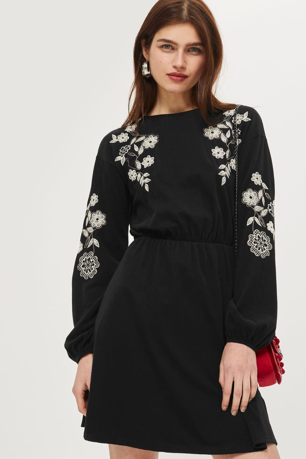 Embroidered balloon sleeve skater dress new in fashion