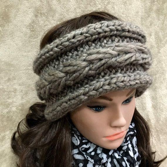 Handmade Knit Headband for Women, Ear Warmer, Cable Knitted Bandana ...