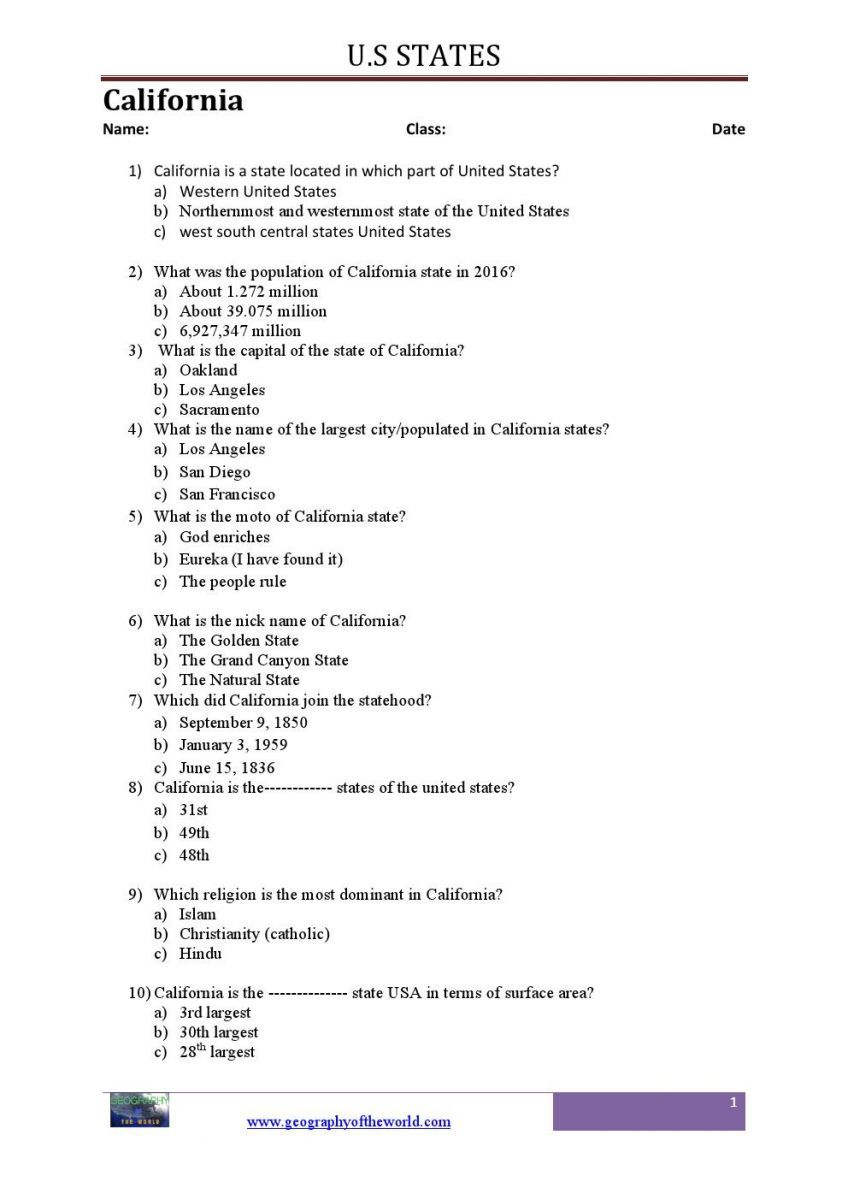 US Geography Trivia Worksheets On US States PDF Geography - United states trivia