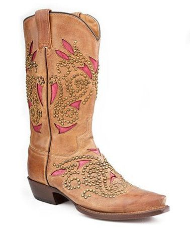 Loving this Tan  Pink Sanded Rivet Cowboy Boot - Women on #zulily! #zulilyfinds @Anne Kennedy great price on these...thinking Kat?